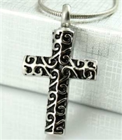 Fancy Cross Cremation Pendant (Chain Sold Separately)