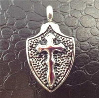 Cross On Shield Cremation Pendant (Chain Sold Separately)
