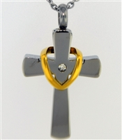 Small Women's Cross With Gold Drape Cremation Pendant (Chain Sold Separately)