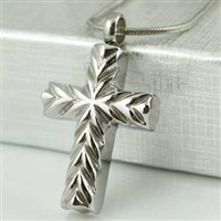 Cut-Design Cross Cremation Pendant (Chain Sold Separately)
