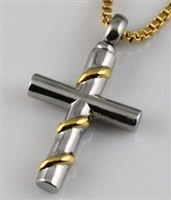 Stainless Steel Cross With Gold Ribbon Cremation Pendant (Chain Sold Separately)