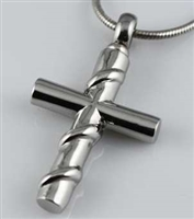 Stainless Steel Cross With Silver Ribbon Cremation Pendant (Chain Sold Separately)