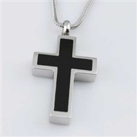 Simple Black And Silver Cross Cremation Pendant (Chain Sold Separately)