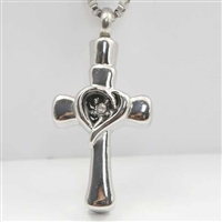Heart With CZ On Cross Cremation Pendant (Chain Sold Separately)