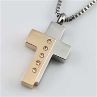 Two-Tone Offset Cross Cremation Pendant (Chain Sold Separately)