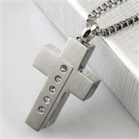Stainless Steel Offset Cross Cremation Pendant (Chain Sold Separately)