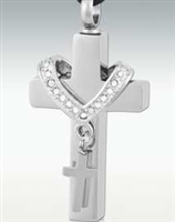 Small Cross Draped Around Larger Cross Cremation Pendant (Chain Sold Separately)