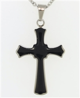 Funky Black and Silver Cross Cremation Pendant (Chain Sold Separately)