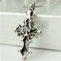 Fancy Design Cross On Cross Cremation Pendant (Chain Sold Separately)