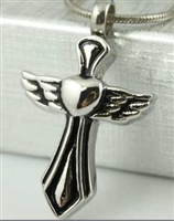 Cross Heart and Angel Wing Cremation Pendant (Chain Sold Separately)
