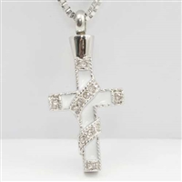 Ribbon Wrapped Around White Cross Cremation Pendant (Chain Sold Separately)
