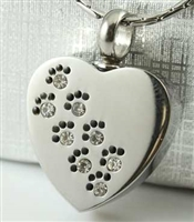 CZ Paw Print Across Heart Cremation Jewelry Pendant (Chain Sold Separately)