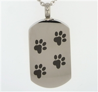 Paw Print Across Dog Tag Cremation Pendant (Chain Sold Separately)
