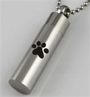Single Paw Print On Cylinder Cremation Pendant (Chain Sold Separately)