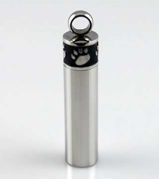 Black and Silver Cylinder With Paw Prints At Top Cremation Pendant (Chain Sold Separately)