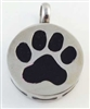 Round With Black Paw Print Cremation Pendant (Chain Sold Separately)