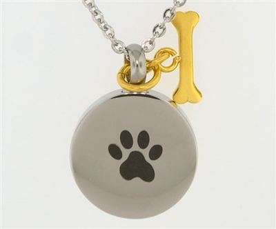 Paw Print On Round With Gold Bone Charm Cremation Pendant (Chain Sold Separately)