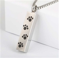 Paw Prints Across Bar Cremation Pendant (Chain Sold Separately)
