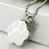 Silver and White Paw Print Cremation Pendant (Chain Sold Separately)