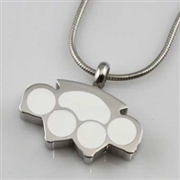 Large Silver and White Paw Print Cremation Pendant (Chain Sold Separately)