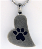 Paw Print On Funky Heart Cremation Pendant (Chain Sold Separately)