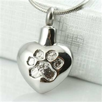 Paw Print Impression On Heart Cremation Pendant (Chain Sold Separately)