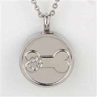 Round With Paw Print On Bone Cremation Pendant (Chain Sold Separately)