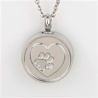 Round With Paw Print On Heart Cremation Pendant (Chain Sold Separately)