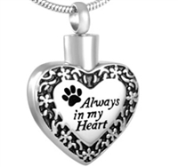 Fancy Paw Print Always In My Heart Cremation Jewelry Pendant (Chain Sold Separately)