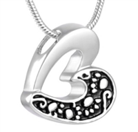 Paw Prints Across Half Of Heart Cremation Pendant (Chain Sold Separately)