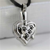 Paw Prints Across Heart Cremation Pendant (Chain Sold Separately)