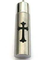 Black Cross On Cylinder Cremation Pendant (Chain Sold Separately)