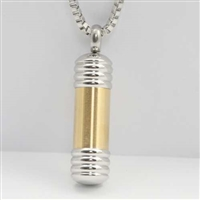 Short Gold Bar Cylinder Cremation Pendant (Chain Sold Separately)