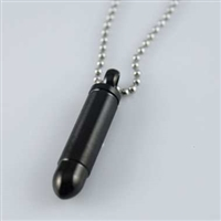 Black Bullet Cylinder Cremation Pendant (Chain Sold Separately)