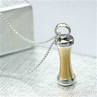 Gold Bar Cylinder Cremation Pendant (Chain Sold Separately)