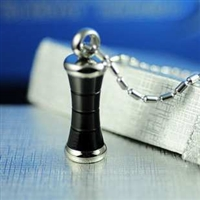 Black Bar Cylinder Cremation Pendant (Chain Sold Separately)