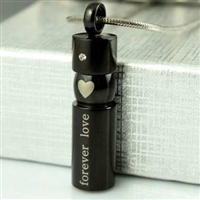 "Black Cylinder With ""Forever Love"" and Heart Cremation Pendant (Chain Sold Separately)"