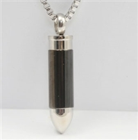 Short Black and Silver Bullet Cremation Pendant (Chain Sold Separately)
