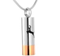 Shotgun Shell Cylinder With Deer Cremation Pendant (Chain Sold Separately)