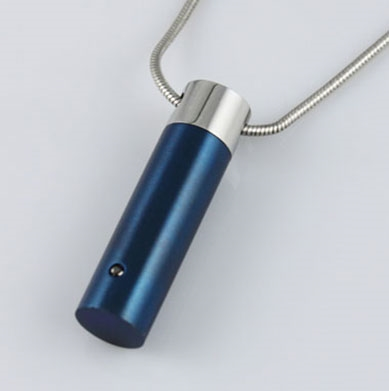 Blue and Silver Cylinder Cremation Jewelry Pendant (Chain Sold Separately)