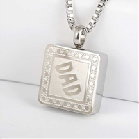 Dad Square Cremation Pendant (Chain Sold Separately)