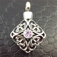 Pendant With Pink Center Stone Cremation Pendant (Chain Sold Separately)