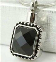 Pendant With Black Stone Cremation Pendant (Chain Sold Separately)
