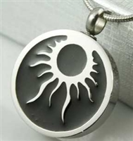 Tribal Sun on Round Cremation Pendant (Chain Sold Separately)