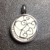 White Round With Moon and Hearts Cremation Pendant (Chain Sold Separately)