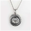 Round Swirl With Large CZ Cremation Pendant (Chain Sold Separately)
