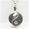 Black and Silver Yin Yang Cremation Pendant (Chain Sold Separately)