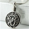 Round With Floral Design Cremation Pendant (Chain Sold Separately)