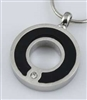 Black And Silver Circle Of Life With CZ Cremation Pendant (Chain Sold Separately)