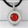Red And White Round Cremation Pendant (Chain Sold Separately)